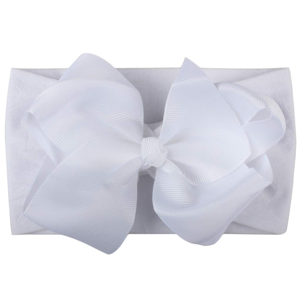 FDSD Women Maternity Clothes Baby Girls Headbands Headwear Little Girls Solid Bow Solid Hair Accessories Turban (White)
