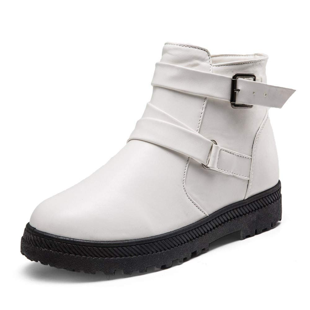 GouuoHi Womens Boots Women Fashion Solid Warm Winter Flat Snow Short Boots Personality Zipper Round Color White Rubber Toe Shoes