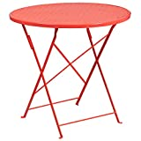 "Flash Furniture 30"" Round Coral Indoor-Outdoor Steel Folding Patio Table Review"