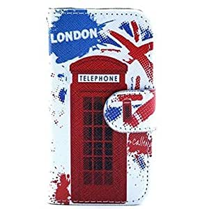 ZLXUSA (TM) Police Box Design PU Leather Full Body Case with Stand and Card Slot and Money Holder for iPhone 4/4S