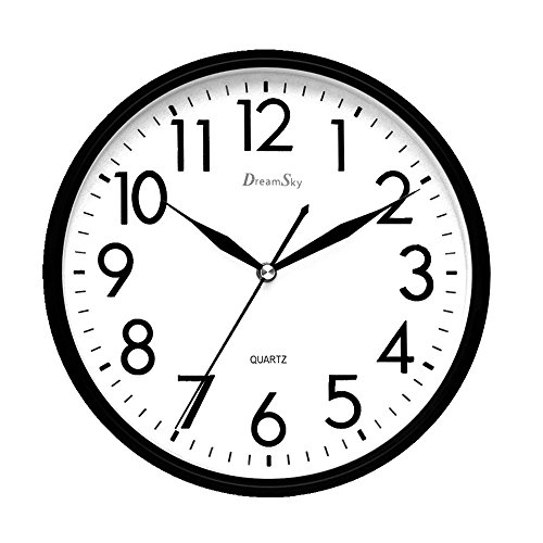 DreamSky 10 inches Silent Non-Ticking Quartz Wall Clock Decorative Indoor Kitchen Clock ,3D Numbers Display ,Battery Operated Wall (Analog Clock Display)