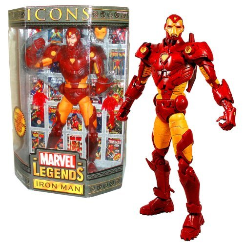ToyBiz Year 2006 Marvel Legends ICONS Series 12 Inch Tall Action Figure - IRON MAN with Removable Mask and 2 Flames Plus (Iron Man Action Figure With Removable Mask)