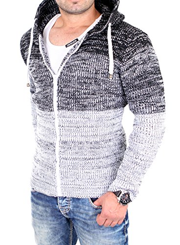 Reslad Strickjacke Herren Colorblock Kapuzen-Jacke Cardigan Winter-Jacke RS-3109