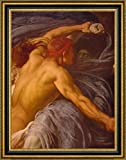 """Hercules Wrestling with Death for the Body of Alcestis Detail by Lord Frederick Leighton - 15"""" x 19"""" Framed Canvas Art Print - Ready to Hang"""