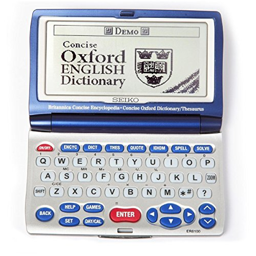 Seiko ER8100 Britannica & Oxford Encycolpedia Dictionary Thesaurus Spellchecker Silver / Blue Dimension 0.78x6x2 inches by SK