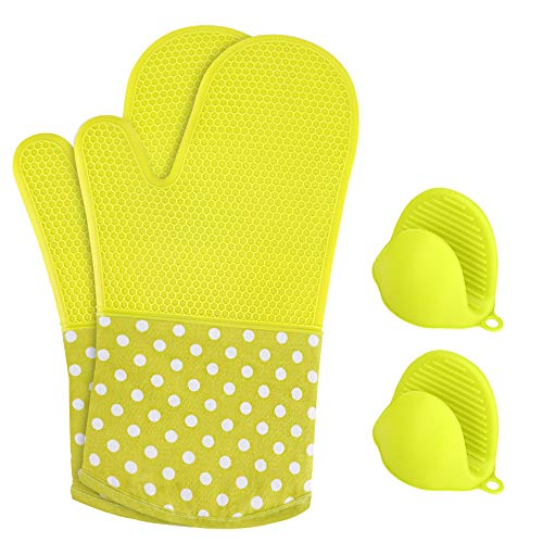Green Oven Mitt - KEDSUM Heat Resistant Silicone Oven Mitts, 1 Pair of Extra Long Potholder Gloves with Bonus 1 Pair of Mini Cooking Pinch Grips, Non-Slip Cotton Lining Kitchen Glove for Baking, Barbeque, Green
