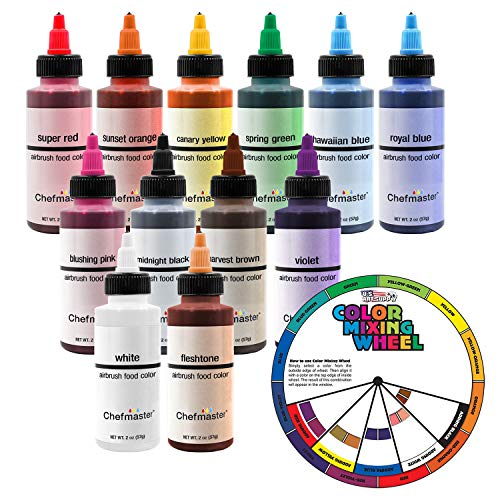 U.S. Cake Supply by Chefmaster Airbrush Cake Color Set - The 12 Most Popular Colors in 2.0 fl. oz. Bottles with Color Mixing Wheel - Safely Made in the USA product