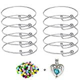 10pcs Expandable Wire Blank Bangle Bracelet for DIY Jewelry Making, Stainless Steel Tone,65mm Come with Double Heart Pearl Cage Pendant + Lava Bead Pompoms