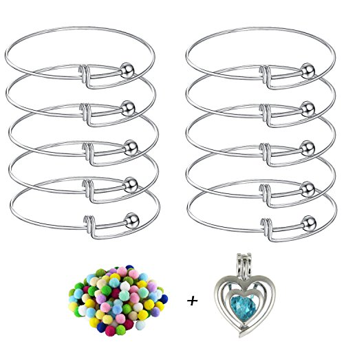 10pcs Expandable Wire Blank Bangle Bracelet for DIY Jewelry Making, Stainless Steel Tone,65mm Come with Double Heart Pearl Cage Pendant + Lava Bead Pompoms (Pendant Jewelry Heart Rhodium)