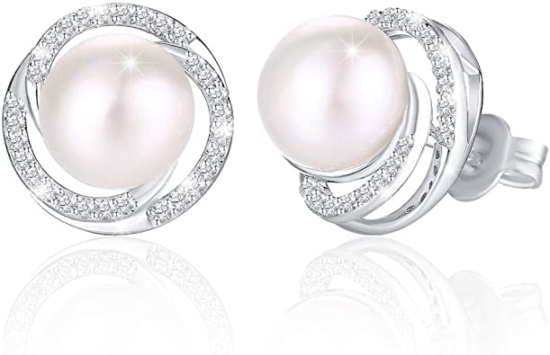 J.Ros/ée Boucles doreilles Perle Bijoux Femme in Argent 925 Cadeau avec Une Bo/îte /à Bijoux /Él/égante