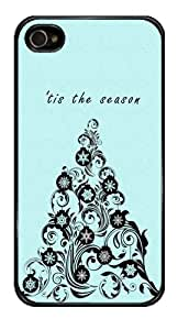 Filigree Tree Holiday Christmas Season Snap-On Cover Hard Plastic Case for iPhone 4/4S (Black)