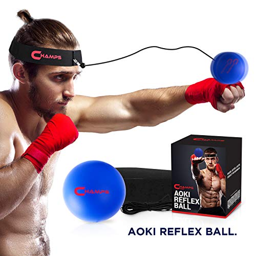 Champs Boxing Reflex Ball Boxing Equipment Fight Speed, MMA Boxing Gear Pro Punching Ball – Great for Reaction Speed and Hand Eye Coordination Training Reflex Bag Alternative … (Beginner)