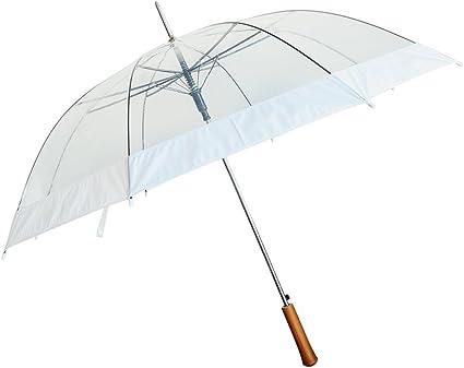 "48/"" Auto-Open Clear//Transparent Rain Umbrella 6 Pack"