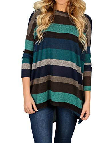 (Moliketor Women's Multicolor Striped Blouses Loose T Shirts Tunics with Pockets)