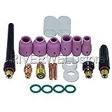 TIG Stubby Gas Lens 17GL332 3/32'' & #10 Pyrex Cup & TIG Gas Lens Alumina Nozzle Kit Fit DB SR WP 17 18 26 TIG Welding Torch 21pcs