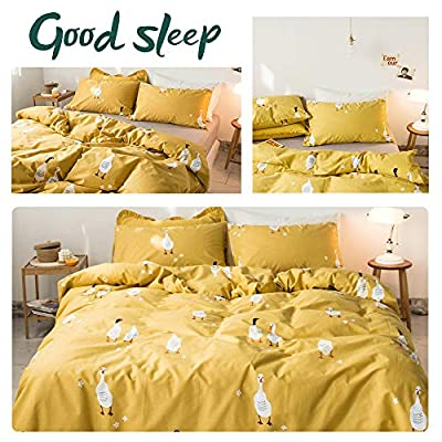 AMWAN 3 Piece Kids Cartoon Duvet Cover Set Queen Yellow Ducks Pattern Cotton Bedding Set Full Cartoon Boys Girls Comforter Cover Set for Teens Toddlers Zipper Closure Cartoon Bedding Collection: Home & Kitchen