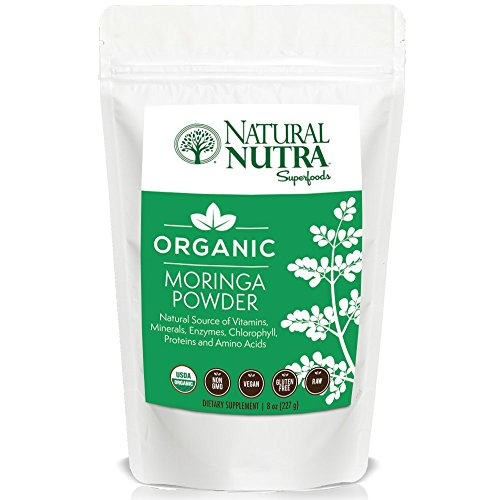 Pure Organic Moringa Oleifera Leaf Powder by Natural Nutra – 8oz, 75 Servings – Superfood Supplement: Antioxidants, Vitamins A & C, Potassium, Calcium, Protein – Non GMO, Vegan, Gluten Free, Raw