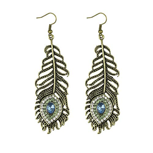 Frogwill Womens Crystal Hook Earrings Sparkling Rhinestone Peacock Feather Dangle Earrings (Lightblue)
