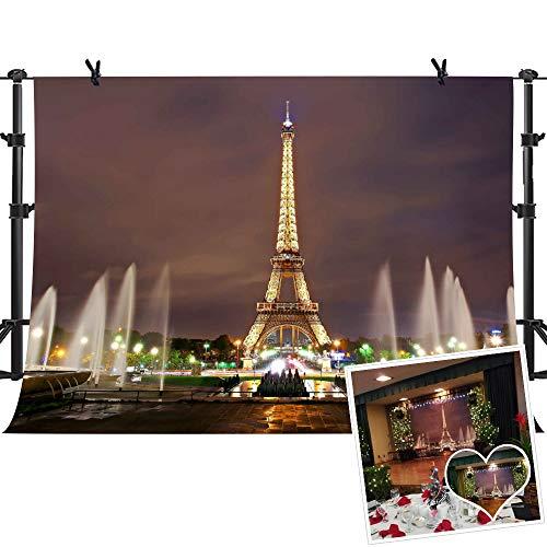 Eiffel Tower Backdrop MME 10x7Ft Paris Landmark Fountain Night Scene Romantic Background Video Studio Photo LUME005