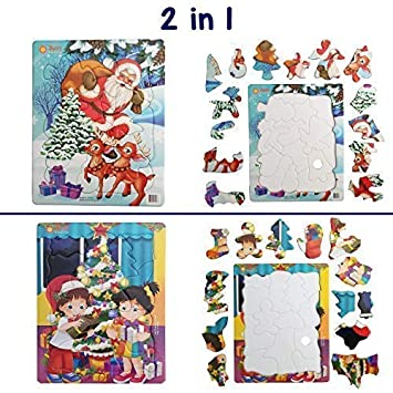 Jigsaw Puzzles 13 And 15 Pcs Kids Ages 345 Best Beginner Toddler Christmas Santa Holiday Xmas Tree Puzzle Fun Learning Educational Toy Gift