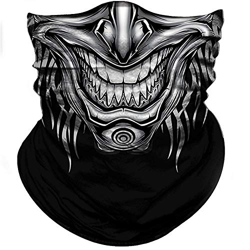 (BonneChance Skull Face Mask 3D Tube Mask Half Sun Dust Wind Protection Seamless Face Mask Bandana Skeleton Face Shield Motorcycle Bike Riding Fishing Hunting Cycling)