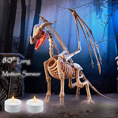 (BooYard Halloween Animated Skeleton Dragon 80