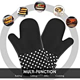 : Deik Silicone Oven Mitts - Heat Resistant to 572 °F Kitchen Oven Gloves for Cooking, Baking, Barbebue Potholder, 1 Pair, Black