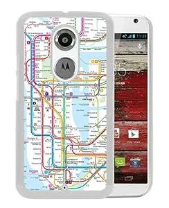 New York subway map White Moto X 2nd Generation Screen Phone Case Nice and Genuine Design