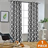 dark grey curtains living room Melodieux Moroccan Fashion Room Darkening Blackout Grommet Top Curtains for Living Room, 52 by 84 Inch, Grey (1 Panel)