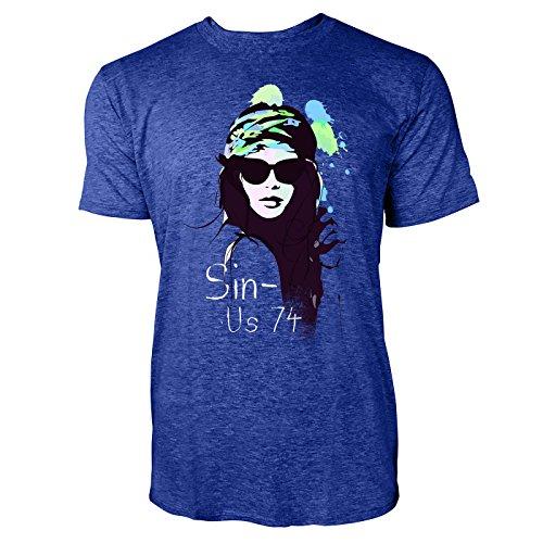 SINUS ART ® Schöne Frau mit Stirnband und Sonnenbrille Herren T-Shirts in Vintage Blau Cooles Fun Shirt mit tollen Aufdruck