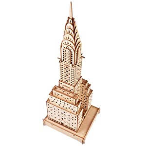 ROBOX Adults Crafts 3D Wooden Puzzle Chrysler Building Model Kit Assembled Construction Building Blocks Wooden Puzzle Christmas Party Home Decoration Assembly Gifts for Teen,Husband,Wife