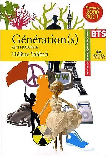 Livre gratuits en ligne Génération(s) : Anthologie BTS, Programme 2009 / 2011 pdf epub