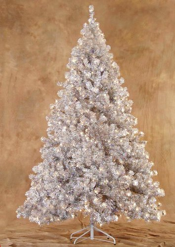Amazoncom 65 Silver Laser Tinsel Artificial Christmas Tree
