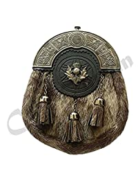 Scottish Kilt Sporran Celtic Cantle Antique Finish/mens Sporran Formal Seal Skin