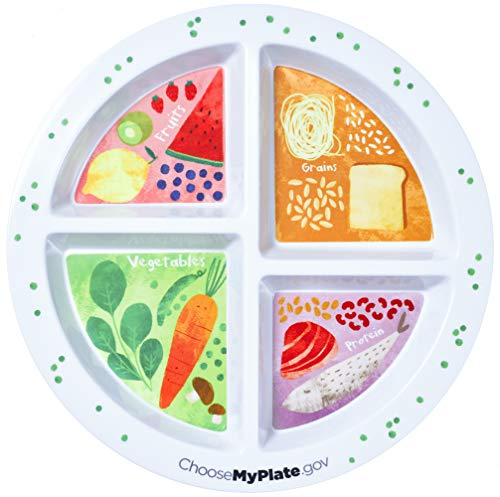 Portion Plate For Adults and Teens - With 4 Divided Sections - MyPlate