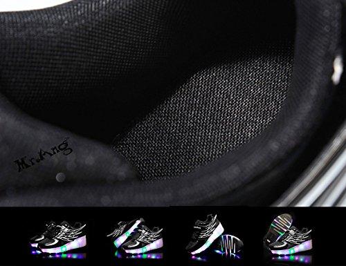Mr.Ang con luces LED coloridos parpadeante neutra ruedas de patines de rueda patín zapatos Zapatos del patín zapatos deportivos niños y niñas Malla de zapatos calzado transpirable Noir
