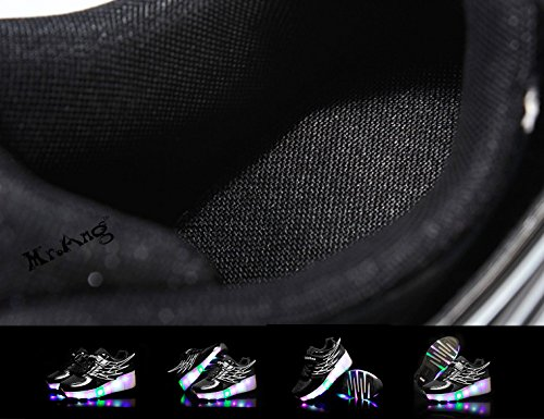 Mr.Ang zapatos de skate luces LED coloridos parpadeante neutra ruedas de patines de rueda patín zapatos Zapatos del patín zapatos deportivos niños y niñas de calzado deportivo Malla de zapatos calzado 03 Noir