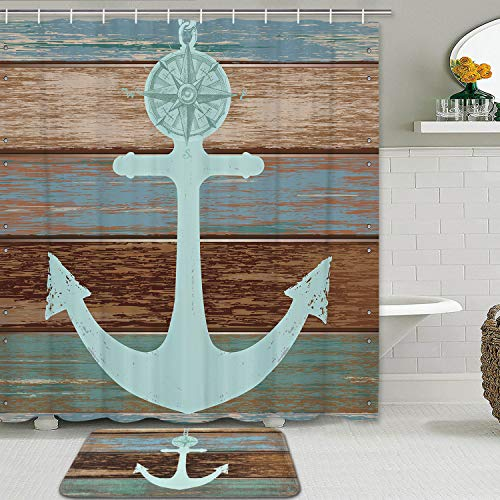 Anchor Shower Curtain Sets with Non-Slip Rugs, Nautical Anchor Rustic Wood Shower Curtain with 12 Hooks, Waterproof Durable Shower Curtain