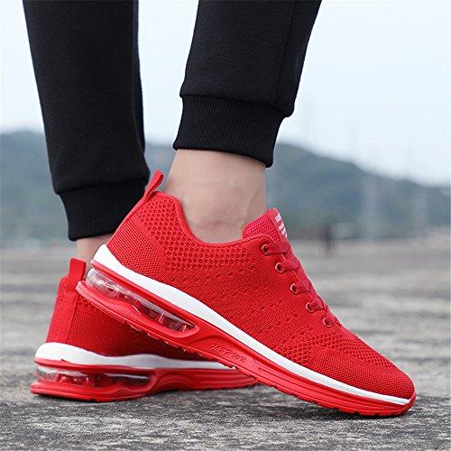 Baskets Athlétique De Course Sneakers Respirant Coussin Sport Hommes 2 Femmes Chaussures Air Semelle Rouge Confort p4x7gnRqw