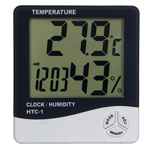 Toch Digital LCD Display Thermometer and Hygrometer with Clock, Calendar and Alarm Features