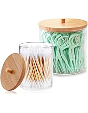 BAOFUFU 2 Pieces Acrylic Qtip Holder Dispenser Bathroom Jars with Bamboo Lids, Plastic Apothecary Jars Bathroom Organizer for Cotton Ball Holds Bamboo Bathroom Accessories Restroom