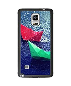 Super Beautiful Dream Paper Boat Plastic and TPU Case Cover for Samsung Galaxy Note 4 (Laser Technology)