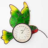 Bits and Pieces - Painted Glass Outdoor Hummingbird Thermometer - Hummingbird Outdoor Décor Temperature Gauge - Decorative Accent for the Yard