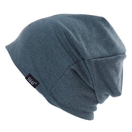 (SIGGI Slouch Beanie Hat Men Women Night Sleep Cap Cancer Chemo Patient Hats Winter Spring Soft Reversible Skull Blue)