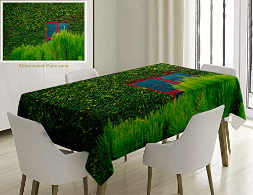 Unique Custom Cotton and Linen Blend Tablecloth Green Red Window On Wooden Wall Covered with Green Vines Bushes Botanical Nature Image Green Red BrownTablecovers for Rectangle Tables, 60 x 40 inches