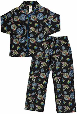 Toy Story Boys Size 8 Buzz Galactic Hero Flannel Coat Pajama Set