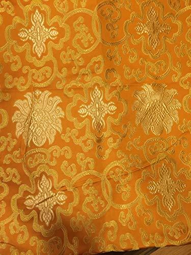 Tibetan Buddhist Traditional Orange Lotus Design Silk Brocade/Fabrics/Fabric Cloth/from Nepal - Orange Silk Cloth