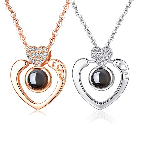 Inf-way I Love You Necklace, 100 Languages Projection on Round Onyx Pendant Loving Memory Collarbone Necklace 1 Pcs (925 Heart Diamond Gold)