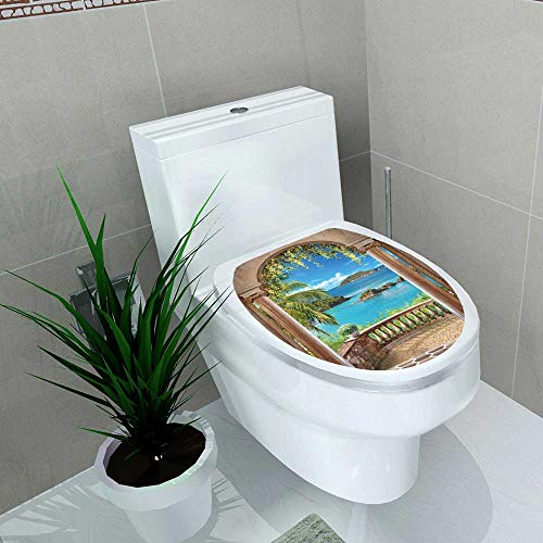 Auraise-home Toilet Seat Decal Vinyl Access to The sea Through The Arch Decal Sticker for Toilet Decoration W13 x L16