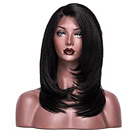Light Yaki L Part Lace Front Wigs Heat Resistant Synthetic Lace Front Wig For Women 18 Inch (1B)